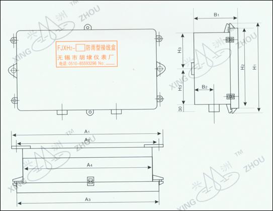 系列防雨型接线盒,用于测量或控制电路中的电缆或导线的聚合与分支之间的联接。它适用于露天布置,能承受暴雨的袭击。并设有密封式电缆卡头。以便将进、出电缆牢固的固定在接线盒上。不同规格的接线盒,配有不同数量的电缆卡头。其数量充分考虑了进、出接线盒的最多电缆根数。电缆卡头有收缩性能,从4芯到19芯的各种型号规格的时快时慢,均可固定和密封。 二、规格: 接线盒规格(表1)